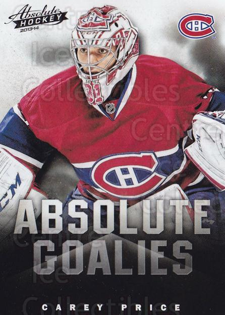 2013-14 Absolute Hockey Goalies #1 Carey Price<br/>5 In Stock - $5.00 each - <a href=https://centericecollectibles.foxycart.com/cart?name=2013-14%20Absolute%20Hockey%20Goalies%20%231%20Carey%20Price...&quantity_max=5&price=$5.00&code=769159 class=foxycart> Buy it now! </a>