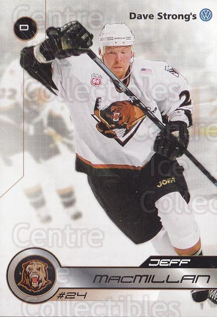 2001-02 Utah Grizzlies #22 Jeff MacMillan<br/>1 In Stock - $3.00 each - <a href=https://centericecollectibles.foxycart.com/cart?name=2001-02%20Utah%20Grizzlies%20%2322%20Jeff%20MacMillan...&quantity_max=1&price=$3.00&code=770744 class=foxycart> Buy it now! </a>