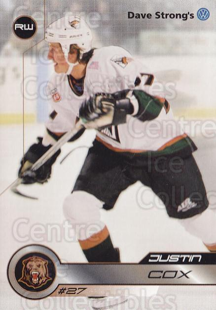 2001-02 Utah Grizzlies #30 Justin Cox<br/>2 In Stock - $3.00 each - <a href=https://centericecollectibles.foxycart.com/cart?name=2001-02%20Utah%20Grizzlies%20%2330%20Justin%20Cox...&quantity_max=2&price=$3.00&code=770752 class=foxycart> Buy it now! </a>