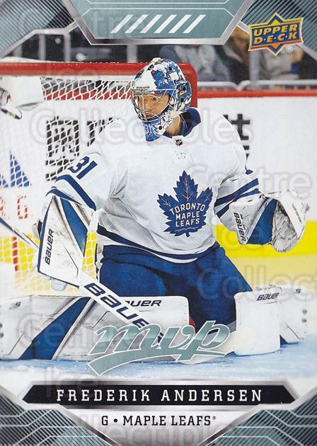 2019-20 Upper Deck MVP #27 Frederik Andersen<br/>1 In Stock - $1.00 each - <a href=https://centericecollectibles.foxycart.com/cart?name=2019-20%20Upper%20Deck%20MVP%20%2327%20Frederik%20Anders...&quantity_max=1&price=$1.00&code=772926 class=foxycart> Buy it now! </a>