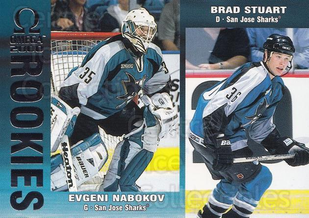 1999-00 Omega #212 Evgeni Nabokov, Brad Stuart<br/>3 In Stock - $3.00 each - <a href=https://centericecollectibles.foxycart.com/cart?name=1999-00%20Omega%20%23212%20Evgeni%20Nabokov,...&quantity_max=3&price=$3.00&code=77816 class=foxycart> Buy it now! </a>
