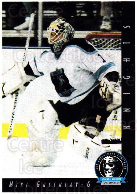 1993-94 Atlanta Knights #1 Mike Greenlay<br/>1 In Stock - $3.00 each - <a href=https://centericecollectibles.foxycart.com/cart?name=1993-94%20Atlanta%20Knights%20%231%20Mike%20Greenlay...&price=$3.00&code=7921 class=foxycart> Buy it now! </a>