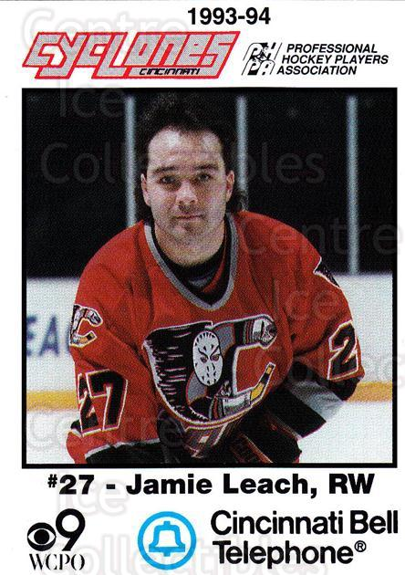 1993-94 Cincinnati Cyclones #14 Jamie Leach<br/>1 In Stock - $3.00 each - <a href=https://centericecollectibles.foxycart.com/cart?name=1993-94%20Cincinnati%20Cyclones%20%2314%20Jamie%20Leach...&price=$3.00&code=7946 class=foxycart> Buy it now! </a>