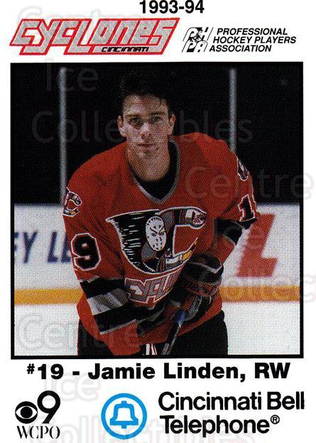 1993-94 Cincinnati Cyclones #17 Jamie Linden<br/>2 In Stock - $3.00 each - <a href=https://centericecollectibles.foxycart.com/cart?name=1993-94%20Cincinnati%20Cyclones%20%2317%20Jamie%20Linden...&quantity_max=2&price=$3.00&code=7948 class=foxycart> Buy it now! </a>
