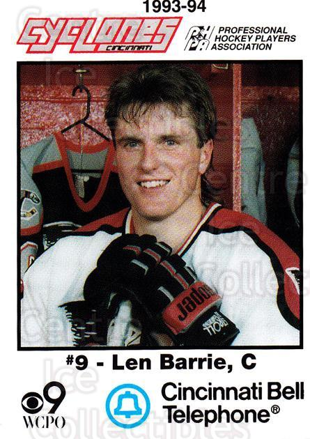1993-94 Cincinnati Cyclones #2 Len Barrie<br/>3 In Stock - $3.00 each - <a href=https://centericecollectibles.foxycart.com/cart?name=1993-94%20Cincinnati%20Cyclones%20%232%20Len%20Barrie...&quantity_max=3&price=$3.00&code=7950 class=foxycart> Buy it now! </a>