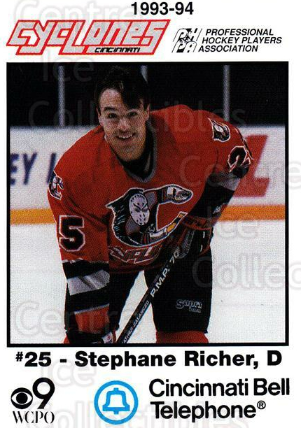1993-94 Cincinnati Cyclones #21 Stephane Richer<br/>1 In Stock - $3.00 each - <a href=https://centericecollectibles.foxycart.com/cart?name=1993-94%20Cincinnati%20Cyclones%20%2321%20Stephane%20Richer...&quantity_max=1&price=$3.00&code=7952 class=foxycart> Buy it now! </a>