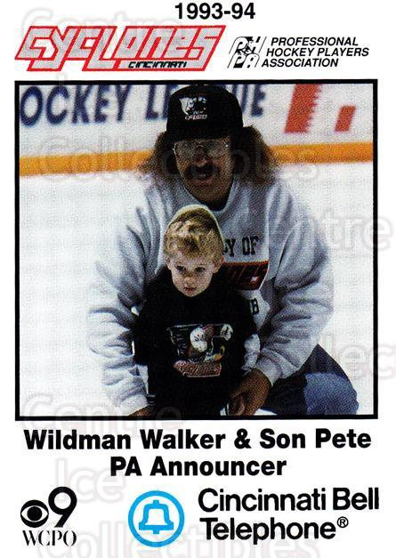 1993-94 Cincinnati Cyclones #27 Wildman Walker<br/>5 In Stock - $3.00 each - <a href=https://centericecollectibles.foxycart.com/cart?name=1993-94%20Cincinnati%20Cyclones%20%2327%20Wildman%20Walker...&quantity_max=5&price=$3.00&code=7957 class=foxycart> Buy it now! </a>
