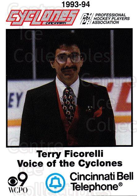 1993-94 Cincinnati Cyclones #31 Terry Ficorelli<br/>4 In Stock - $3.00 each - <a href=https://centericecollectibles.foxycart.com/cart?name=1993-94%20Cincinnati%20Cyclones%20%2331%20Terry%20Ficorelli...&quantity_max=4&price=$3.00&code=7962 class=foxycart> Buy it now! </a>