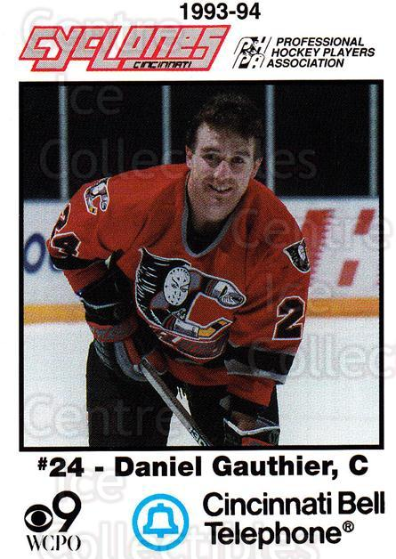 1993-94 Cincinnati Cyclones #7 Daniel Gauthier<br/>1 In Stock - $3.00 each - <a href=https://centericecollectibles.foxycart.com/cart?name=1993-94%20Cincinnati%20Cyclones%20%237%20Daniel%20Gauthier...&quantity_max=1&price=$3.00&code=7965 class=foxycart> Buy it now! </a>