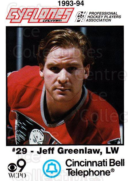 1993-94 Cincinnati Cyclones #8 Jeff Greenlaw<br/>2 In Stock - $3.00 each - <a href=https://centericecollectibles.foxycart.com/cart?name=1993-94%20Cincinnati%20Cyclones%20%238%20Jeff%20Greenlaw...&quantity_max=2&price=$3.00&code=7966 class=foxycart> Buy it now! </a>
