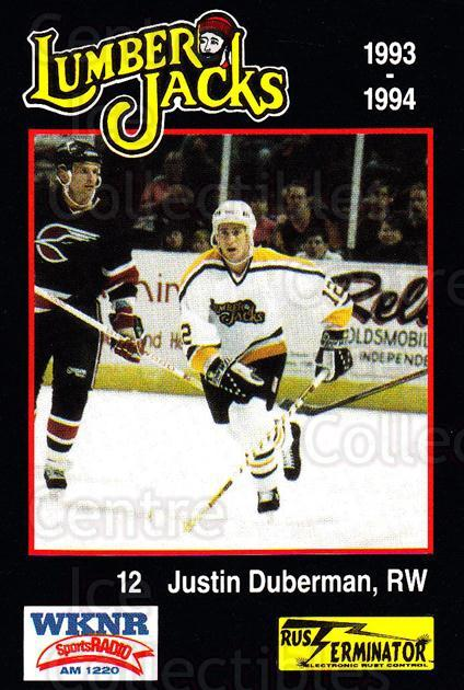 1993-94 Cleveland Lumberjacks #11 Justin Duberman<br/>2 In Stock - $3.00 each - <a href=https://centericecollectibles.foxycart.com/cart?name=1993-94%20Cleveland%20Lumberjacks%20%2311%20Justin%20Duberman...&quantity_max=2&price=$3.00&code=7971 class=foxycart> Buy it now! </a>