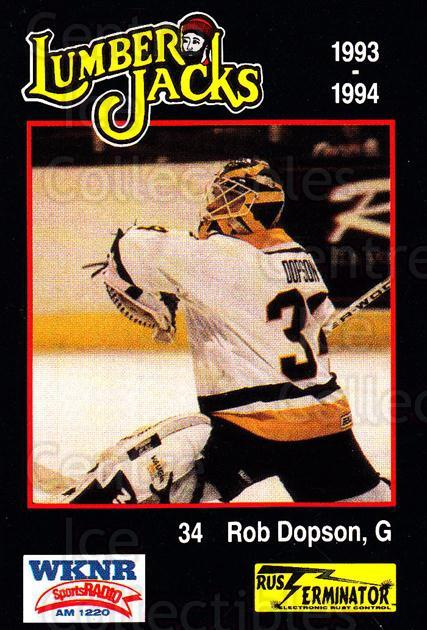1993-94 Cleveland Lumberjacks #22 Rob Dopson<br/>3 In Stock - $3.00 each - <a href=https://centericecollectibles.foxycart.com/cart?name=1993-94%20Cleveland%20Lumberjacks%20%2322%20Rob%20Dopson...&quantity_max=3&price=$3.00&code=7981 class=foxycart> Buy it now! </a>