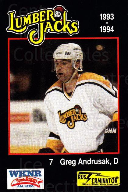1993-94 Cleveland Lumberjacks #8 Greg Andrusak<br/>5 In Stock - $3.00 each - <a href=https://centericecollectibles.foxycart.com/cart?name=1993-94%20Cleveland%20Lumberjacks%20%238%20Greg%20Andrusak...&quantity_max=5&price=$3.00&code=7990 class=foxycart> Buy it now! </a>