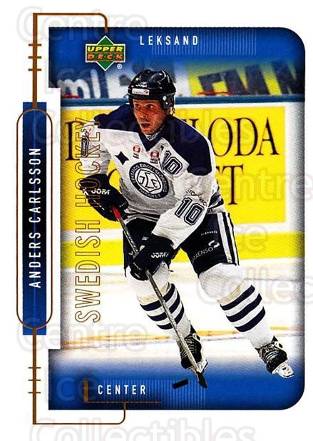 1999-00 Swedish Upper Deck #112 Anders Carlsson<br/>4 In Stock - $2.00 each - <a href=https://centericecollectibles.foxycart.com/cart?name=1999-00%20Swedish%20Upper%20Deck%20%23112%20Anders%20Carlsson...&quantity_max=4&price=$2.00&code=80626 class=foxycart> Buy it now! </a>