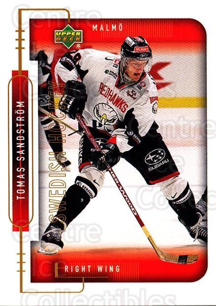1999-00 Swedish Upper Deck #157 Tomas Sandstrom<br/>10 In Stock - $2.00 each - <a href=https://centericecollectibles.foxycart.com/cart?name=1999-00%20Swedish%20Upper%20Deck%20%23157%20Tomas%20Sandstrom...&quantity_max=10&price=$2.00&code=80673 class=foxycart> Buy it now! </a>