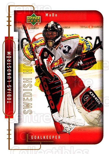 1999-00 Swedish Upper Deck #168 Tobias Lundstrom<br/>6 In Stock - $2.00 each - <a href=https://centericecollectibles.foxycart.com/cart?name=1999-00%20Swedish%20Upper%20Deck%20%23168%20Tobias%20Lundstro...&quantity_max=6&price=$2.00&code=80685 class=foxycart> Buy it now! </a>