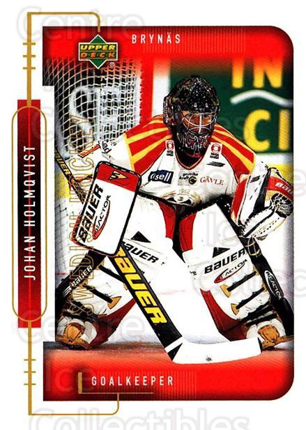 1999-00 Swedish Upper Deck #18 Johan Holmqvist<br/>2 In Stock - $2.00 each - <a href=https://centericecollectibles.foxycart.com/cart?name=1999-00%20Swedish%20Upper%20Deck%20%2318%20Johan%20Holmqvist...&quantity_max=2&price=$2.00&code=80695 class=foxycart> Buy it now! </a>