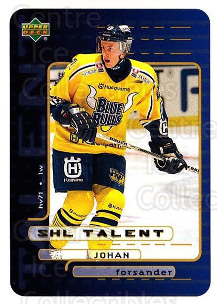 1999-00 Swedish Upper Deck #207 Johan Forsander<br/>4 In Stock - $2.00 each - <a href=https://centericecollectibles.foxycart.com/cart?name=1999-00%20Swedish%20Upper%20Deck%20%23207%20Johan%20Forsander...&quantity_max=4&price=$2.00&code=80723 class=foxycart> Buy it now! </a>