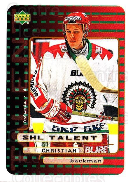 1999-00 Swedish Upper Deck #216 Christian Backman<br/>4 In Stock - $2.00 each - <a href=https://centericecollectibles.foxycart.com/cart?name=1999-00%20Swedish%20Upper%20Deck%20%23216%20Christian%20Backm...&quantity_max=4&price=$2.00&code=80732 class=foxycart> Buy it now! </a>