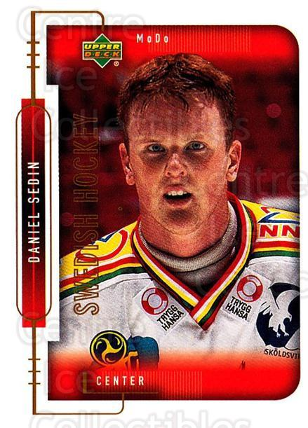 1999-00 Swedish Upper Deck #217 Daniel Sedin<br/>5 In Stock - $2.00 each - <a href=https://centericecollectibles.foxycart.com/cart?name=1999-00%20Swedish%20Upper%20Deck%20%23217%20Daniel%20Sedin...&quantity_max=5&price=$2.00&code=80733 class=foxycart> Buy it now! </a>