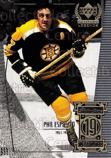 1999-00 UD Century Legends #19 Phil Esposito<br/>2 In Stock - $2.00 each - <a href=https://centericecollectibles.foxycart.com/cart?name=1999-00%20UD%20Century%20Legends%20%2319%20Phil%20Esposito...&quantity_max=2&price=$2.00&code=81493 class=foxycart> Buy it now! </a>