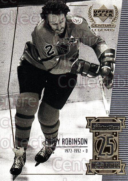 1999-00 UD Century Legends #25 Larry Robinson<br/>10 In Stock - $1.00 each - <a href=https://centericecollectibles.foxycart.com/cart?name=1999-00%20UD%20Century%20Legends%20%2325%20Larry%20Robinson...&quantity_max=10&price=$1.00&code=81498 class=foxycart> Buy it now! </a>