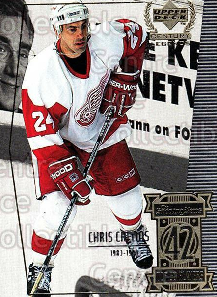 1999-00 UD Century Legends #42 Chris Chelios<br/>9 In Stock - $1.00 each - <a href=https://centericecollectibles.foxycart.com/cart?name=1999-00%20UD%20Century%20Legends%20%2342%20Chris%20Chelios...&quantity_max=9&price=$1.00&code=81515 class=foxycart> Buy it now! </a>