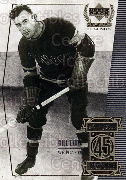 1999-00 UD Century Legends #45 Bill Cook<br/>6 In Stock - $2.00 each - <a href=https://centericecollectibles.foxycart.com/cart?name=1999-00%20UD%20Century%20Legends%20%2345%20Bill%20Cook...&quantity_max=6&price=$2.00&code=81518 class=foxycart> Buy it now! </a>