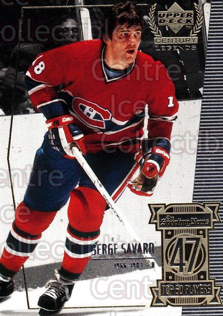 1999-00 UD Century Legends #47 Serge Savard<br/>4 In Stock - $2.00 each - <a href=https://centericecollectibles.foxycart.com/cart?name=1999-00%20UD%20Century%20Legends%20%2347%20Serge%20Savard...&quantity_max=4&price=$2.00&code=81520 class=foxycart> Buy it now! </a>