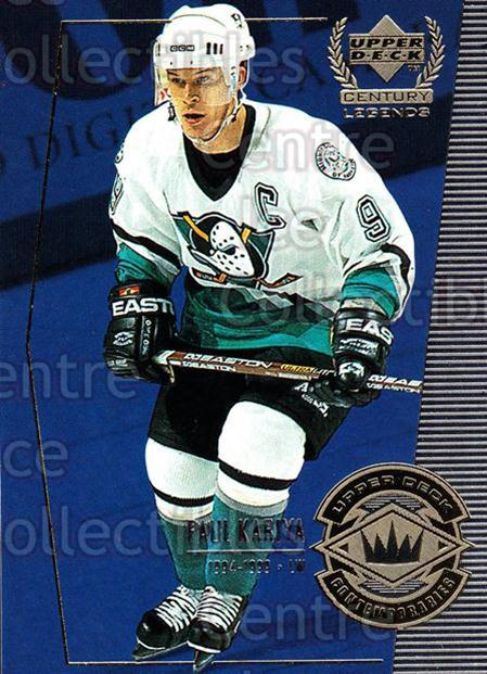 1999-00 UD Century Legends #54 Paul Kariya<br/>12 In Stock - $1.00 each - <a href=https://centericecollectibles.foxycart.com/cart?name=1999-00%20UD%20Century%20Legends%20%2354%20Paul%20Kariya...&quantity_max=12&price=$1.00&code=81527 class=foxycart> Buy it now! </a>