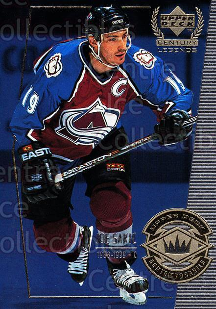 1999-00 UD Century Legends #65 Joe Sakic<br/>5 In Stock - $2.00 each - <a href=https://centericecollectibles.foxycart.com/cart?name=1999-00%20UD%20Century%20Legends%20%2365%20Joe%20Sakic...&quantity_max=5&price=$2.00&code=81539 class=foxycart> Buy it now! </a>