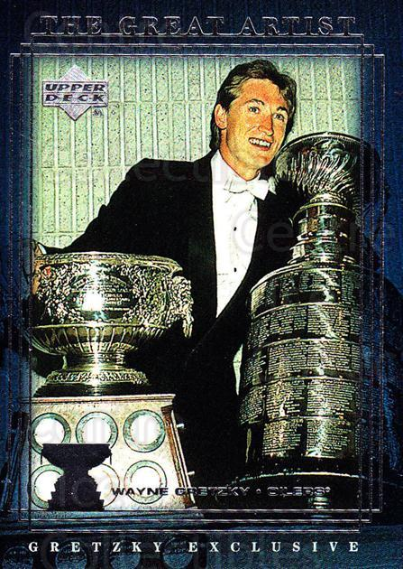 1999-00 Upper Deck Wayne Gretzky Exclusives #51 Wayne Gretzky, Art Ross Trophy, Stanley Cup<br/>3 In Stock - $2.00 each - <a href=https://centericecollectibles.foxycart.com/cart?name=1999-00%20Upper%20Deck%20Wayne%20Gretzky%20Exclusives%20%2351%20Wayne%20Gretzky,%20...&price=$2.00&code=81637 class=foxycart> Buy it now! </a>