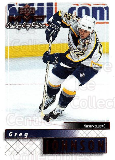 1999-00 Upper Deck MVP SC Edition #102 Greg Johnson<br/>4 In Stock - $1.00 each - <a href=https://centericecollectibles.foxycart.com/cart?name=1999-00%20Upper%20Deck%20MVP%20SC%20Edition%20%23102%20Greg%20Johnson...&quantity_max=4&price=$1.00&code=82225 class=foxycart> Buy it now! </a>