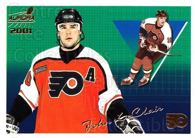 2000-01 Aurora #107 John LeClair<br/>4 In Stock - $1.00 each - <a href=https://centericecollectibles.foxycart.com/cart?name=2000-01%20Aurora%20%23107%20John%20LeClair...&quantity_max=4&price=$1.00&code=83158 class=foxycart> Buy it now! </a>