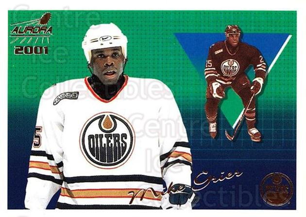 2000-01 Aurora #55 Mike Grier<br/>6 In Stock - $1.00 each - <a href=https://centericecollectibles.foxycart.com/cart?name=2000-01%20Aurora%20%2355%20Mike%20Grier...&quantity_max=6&price=$1.00&code=83248 class=foxycart> Buy it now! </a>