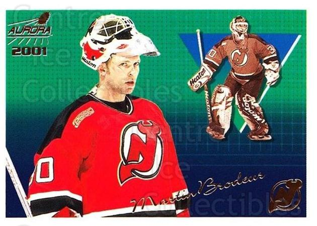 2000-01 Aurora #81 Martin Brodeur<br/>4 In Stock - $3.00 each - <a href=https://centericecollectibles.foxycart.com/cart?name=2000-01%20Aurora%20%2381%20Martin%20Brodeur...&quantity_max=4&price=$3.00&code=83277 class=foxycart> Buy it now! </a>