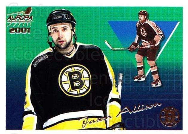 2000-01 Aurora #9 Jason Allison<br/>7 In Stock - $1.00 each - <a href=https://centericecollectibles.foxycart.com/cart?name=2000-01%20Aurora%20%239%20Jason%20Allison...&quantity_max=7&price=$1.00&code=83286 class=foxycart> Buy it now! </a>