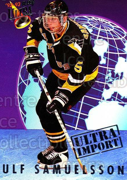 1992-93 Ultra Import #20 Ulf Samuelsson<br/>9 In Stock - $2.00 each - <a href=https://centericecollectibles.foxycart.com/cart?name=1992-93%20Ultra%20Import%20%2320%20Ulf%20Samuelsson...&quantity_max=9&price=$2.00&code=8371 class=foxycart> Buy it now! </a>