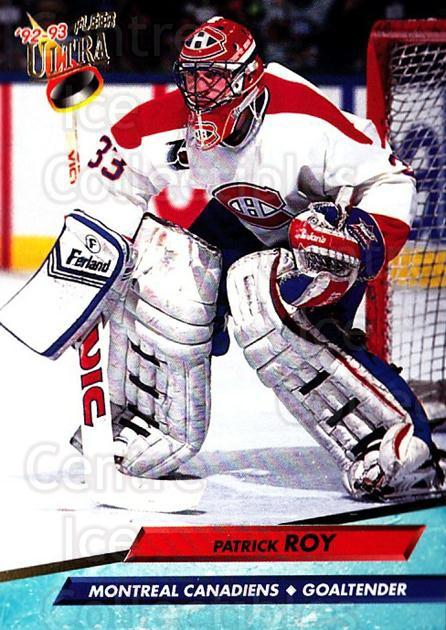 1992-93 Ultra #108 Patrick Roy<br/>4 In Stock - $2.00 each - <a href=https://centericecollectibles.foxycart.com/cart?name=1992-93%20Ultra%20%23108%20Patrick%20Roy...&price=$2.00&code=8438 class=foxycart> Buy it now! </a>
