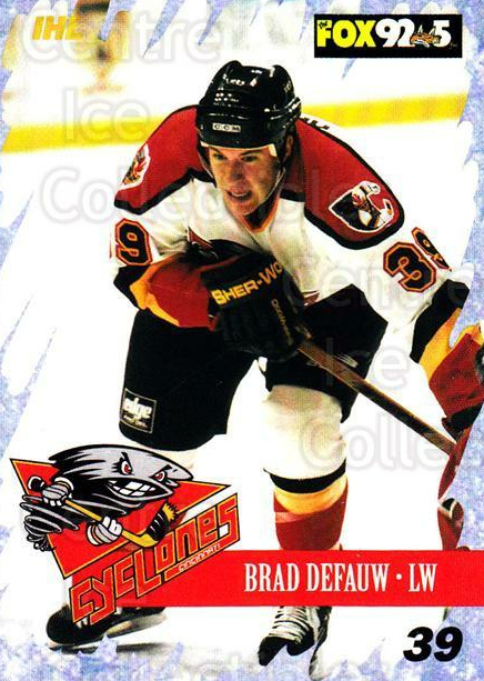 2000-01 Cincinnati Cyclones #17 Brad DeFauw<br/>2 In Stock - $3.00 each - <a href=https://centericecollectibles.foxycart.com/cart?name=2000-01%20Cincinnati%20Cyclones%20%2317%20Brad%20DeFauw...&quantity_max=2&price=$3.00&code=84397 class=foxycart> Buy it now! </a>