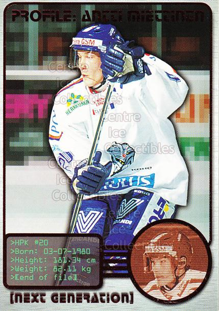 2000-01 Finnish Cardset Next Generation #7 Antti Miettinen<br/>4 In Stock - $3.00 each - <a href=https://centericecollectibles.foxycart.com/cart?name=2000-01%20Finnish%20Cardset%20Next%20Generation%20%237%20Antti%20Miettinen...&quantity_max=4&price=$3.00&code=85125 class=foxycart> Buy it now! </a>