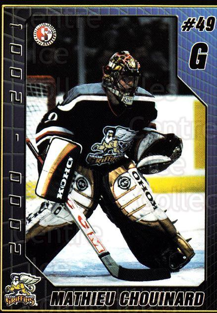 2000-01 Grand Rapids Griffins #4 Mathieu Chouinard<br/>1 In Stock - $3.00 each - <a href=https://centericecollectibles.foxycart.com/cart?name=2000-01%20Grand%20Rapids%20Griffins%20%234%20Mathieu%20Chouina...&price=$3.00&code=85457 class=foxycart> Buy it now! </a>