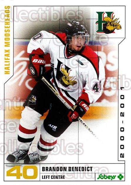2000-01 Halifax Mooseheads #1 Brandon Benedict<br/>2 In Stock - $3.00 each - <a href=https://centericecollectibles.foxycart.com/cart?name=2000-01%20Halifax%20Mooseheads%20%231%20Brandon%20Benedic...&quantity_max=2&price=$3.00&code=85463 class=foxycart> Buy it now! </a>