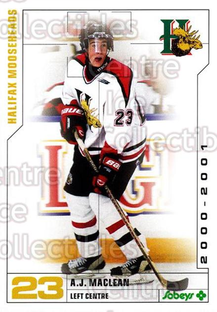 2000-01 Halifax Mooseheads #16 AJ MacLean<br/>4 In Stock - $3.00 each - <a href=https://centericecollectibles.foxycart.com/cart?name=2000-01%20Halifax%20Mooseheads%20%2316%20AJ%20MacLean...&quantity_max=4&price=$3.00&code=85469 class=foxycart> Buy it now! </a>