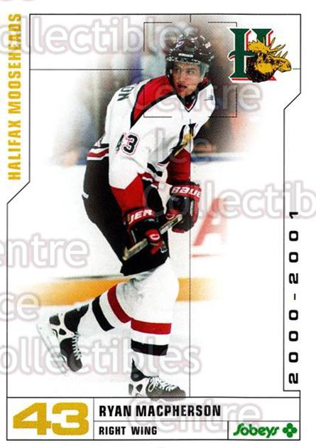2000-01 Halifax Mooseheads #17 Ryan MacPherson<br/>8 In Stock - $3.00 each - <a href=https://centericecollectibles.foxycart.com/cart?name=2000-01%20Halifax%20Mooseheads%20%2317%20Ryan%20MacPherson...&quantity_max=8&price=$3.00&code=85470 class=foxycart> Buy it now! </a>