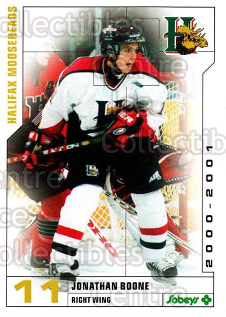 2000-01 Halifax Mooseheads #2 Jonathan Boone<br/>6 In Stock - $3.00 each - <a href=https://centericecollectibles.foxycart.com/cart?name=2000-01%20Halifax%20Mooseheads%20%232%20Jonathan%20Boone...&quantity_max=6&price=$3.00&code=85473 class=foxycart> Buy it now! </a>