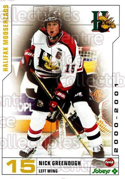 2000-01 Halifax Mooseheads #6 Nick Greenough<br/>6 In Stock - $3.00 each - <a href=https://centericecollectibles.foxycart.com/cart?name=2000-01%20Halifax%20Mooseheads%20%236%20Nick%20Greenough...&quantity_max=6&price=$3.00&code=85483 class=foxycart> Buy it now! </a>