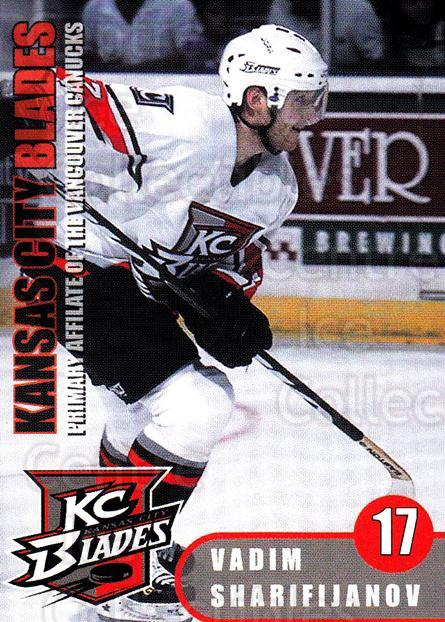 2000-01 Kansas City Blades #11 Vadim Sharifianov<br/>6 In Stock - $3.00 each - <a href=https://centericecollectibles.foxycart.com/cart?name=2000-01%20Kansas%20City%20Blades%20%2311%20Vadim%20Sharifian...&quantity_max=6&price=$3.00&code=85563 class=foxycart> Buy it now! </a>