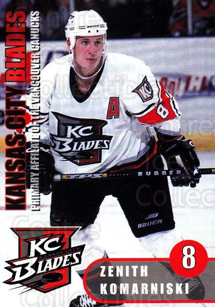 2000-01 Kansas City Blades #4 Zenith Komarniski<br/>4 In Stock - $3.00 each - <a href=https://centericecollectibles.foxycart.com/cart?name=2000-01%20Kansas%20City%20Blades%20%234%20Zenith%20Komarnis...&quantity_max=4&price=$3.00&code=85578 class=foxycart> Buy it now! </a>