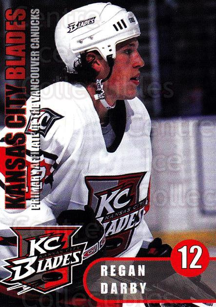 2000-01 Kansas City Blades #7 Regan Darby<br/>3 In Stock - $3.00 each - <a href=https://centericecollectibles.foxycart.com/cart?name=2000-01%20Kansas%20City%20Blades%20%237%20Regan%20Darby...&quantity_max=3&price=$3.00&code=85580 class=foxycart> Buy it now! </a>